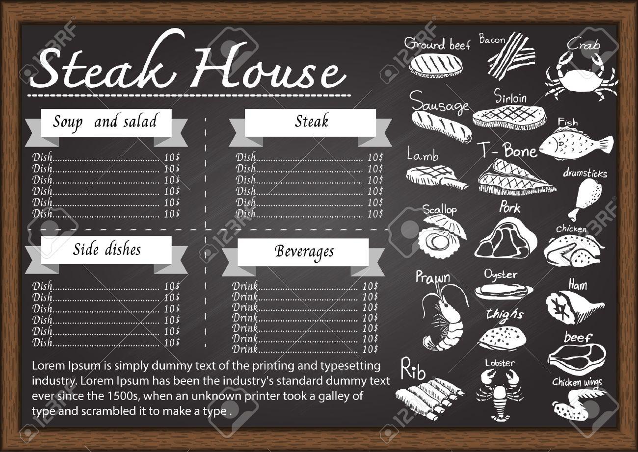 Steak House Menu On Chalkboard Design Template Stock Vector