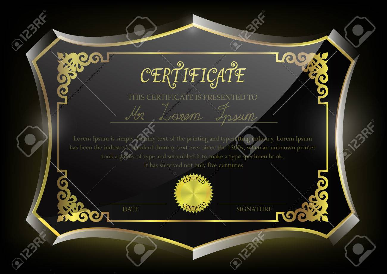Certificate On Glass Trophy Design Template Stock Vector