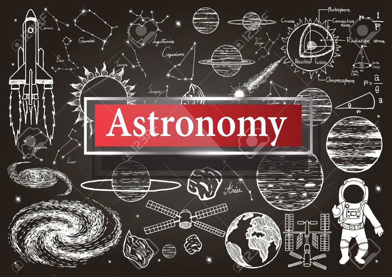 Doodles über Astronomie Auf Tafel Mit Transparenten Rahmen Mit Dem ...