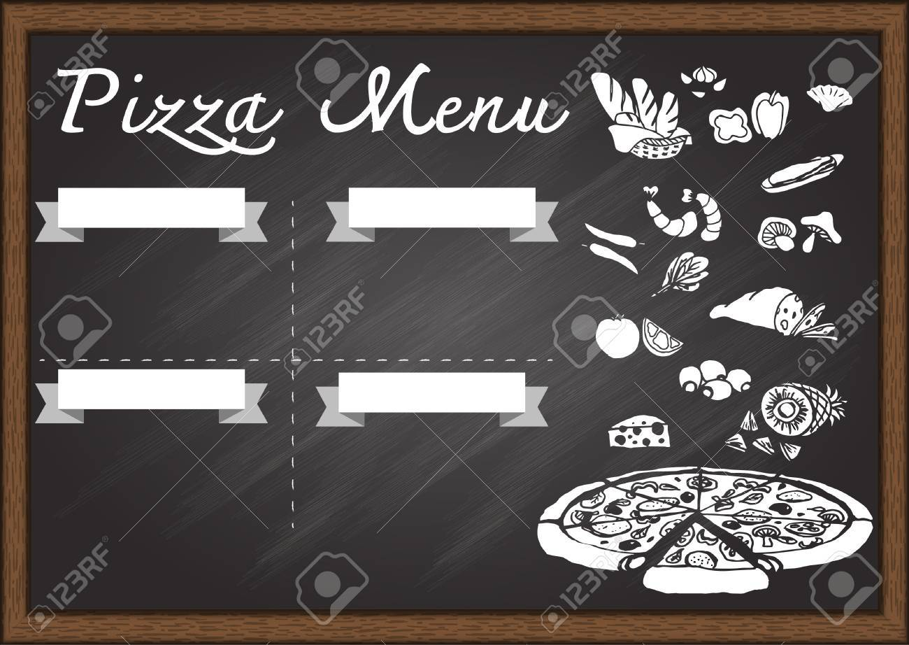 Hand Drawn Pizza Menu On Chalkboard Design Template Ready To Use Stock Vector