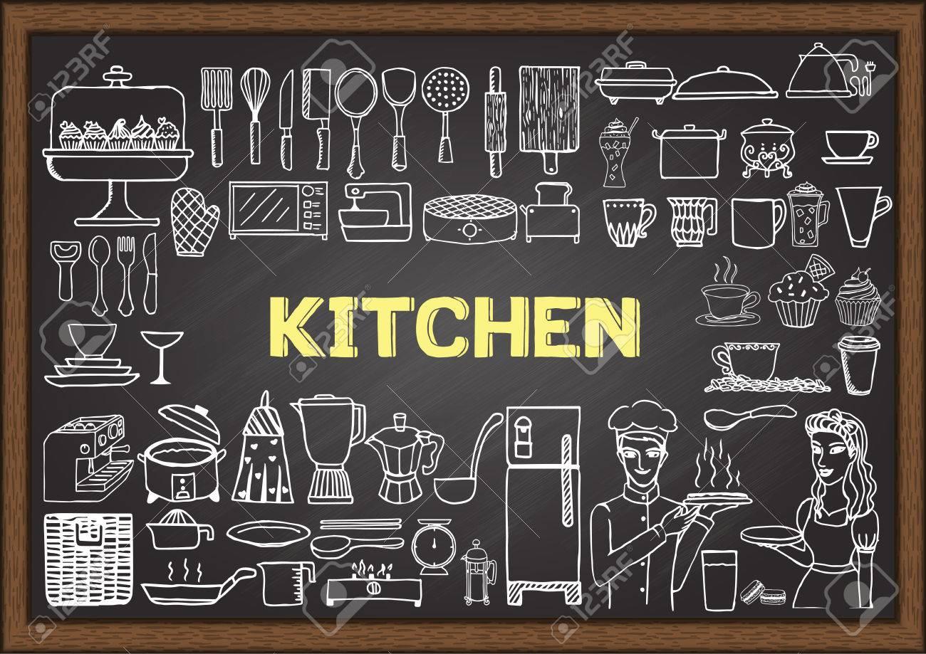 attrezzature da cucina disegnata a mano sulla lavagna. doodles o ... - Lavagne Per Cucina