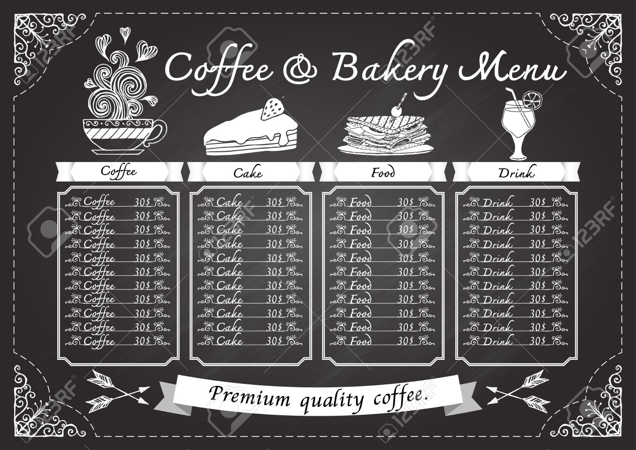 hand drawn coffee menu on chalkboard design template royalty free