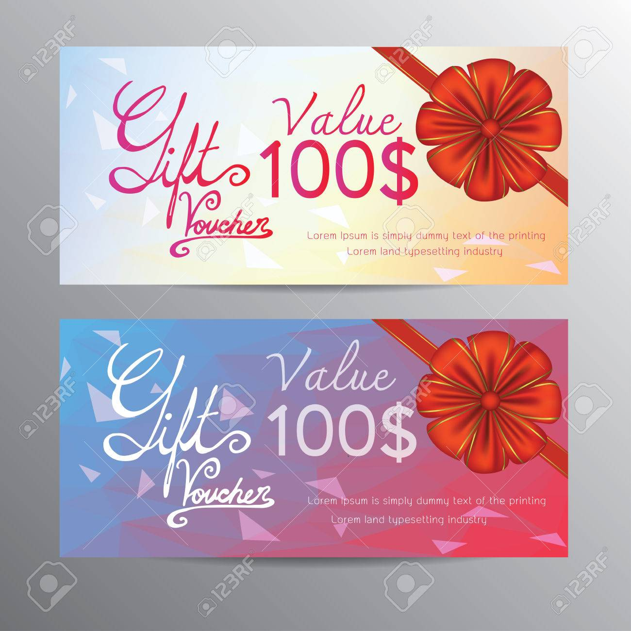Voucher Template With Red Bow Ribbons And Hand Drawn The Word – Voucher Template for Word