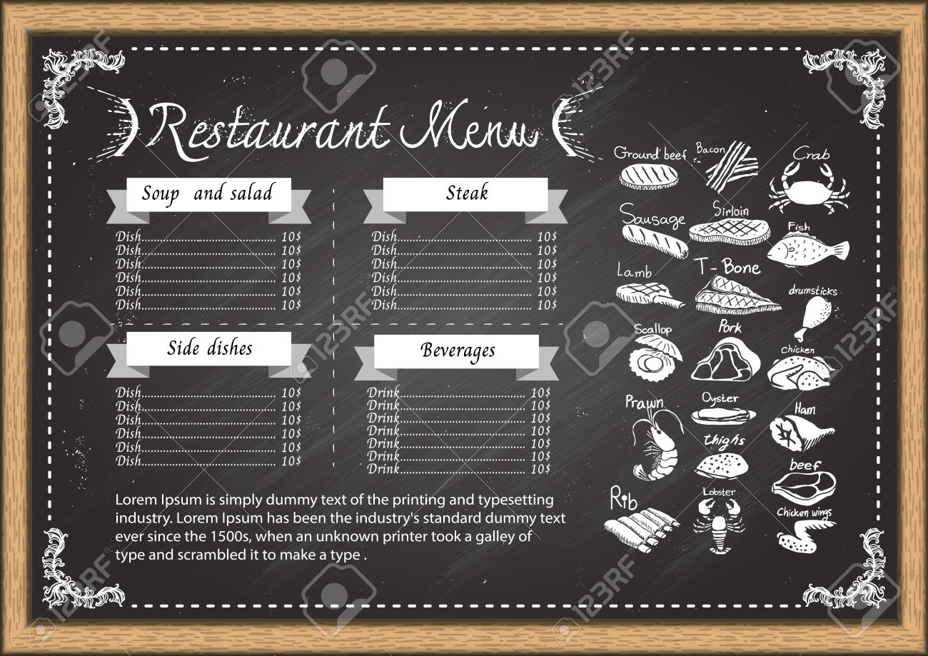 Restaurant Menu On Chalkboard Design Template Stock Vector