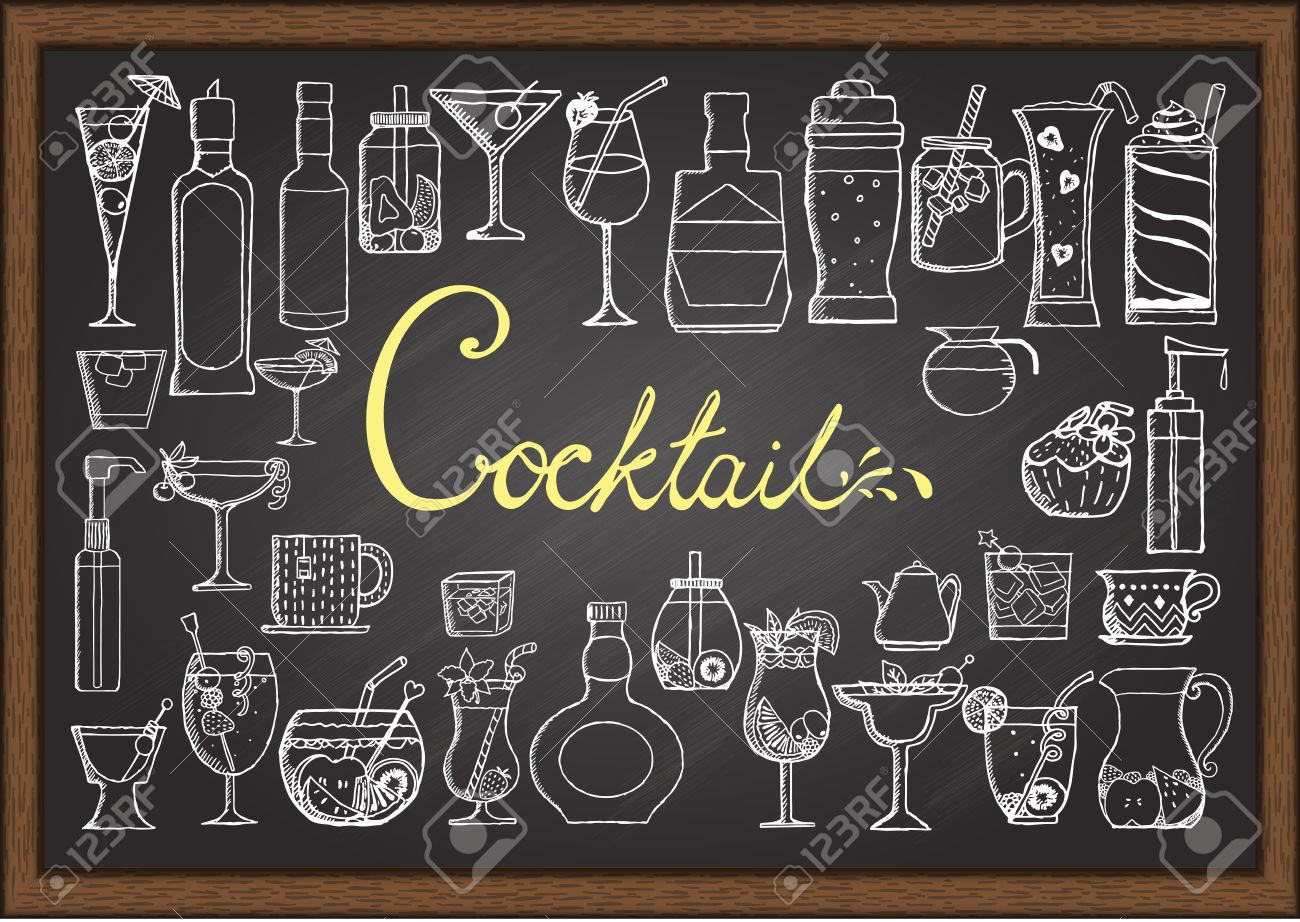 big set of hand drawn cocktails on chalkboard royalty free  - big set of hand drawn cocktails on chalkboard stock vector