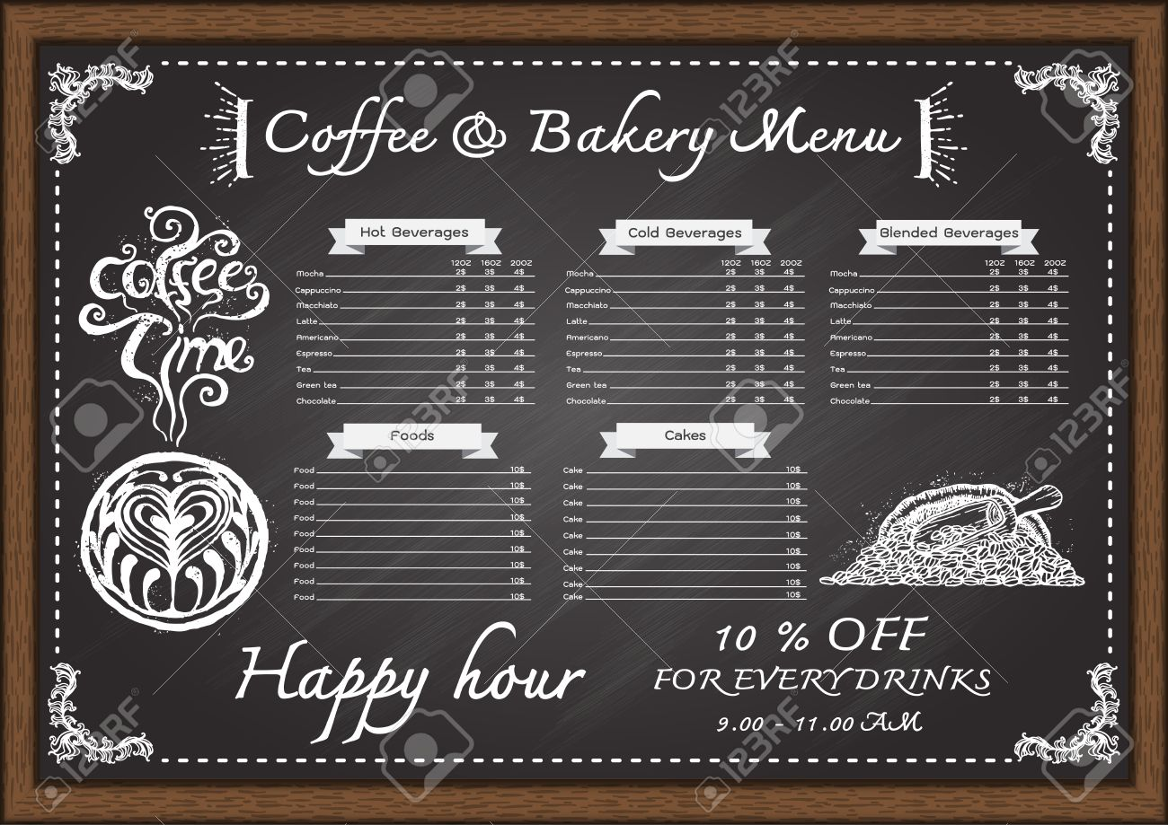hand drawn cafe menu con chalkboard design template. royalty free