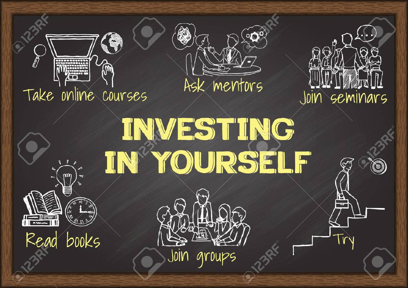 info graphics on chalkboard about investing in yourself stock vector 42294177