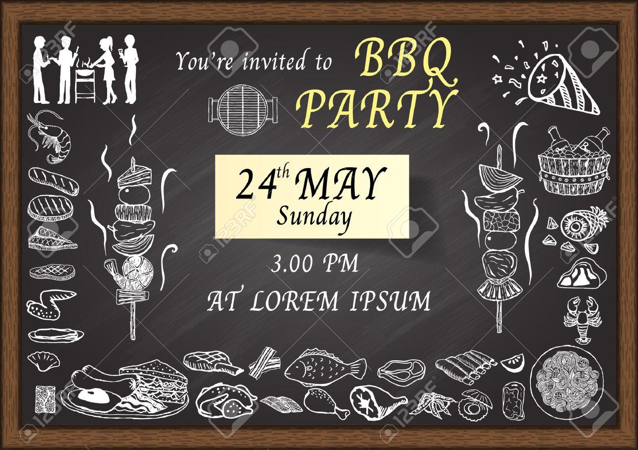 BBQ Party Einladung Auf Tafel. Design Vorlage Für Poster, Karten, Web