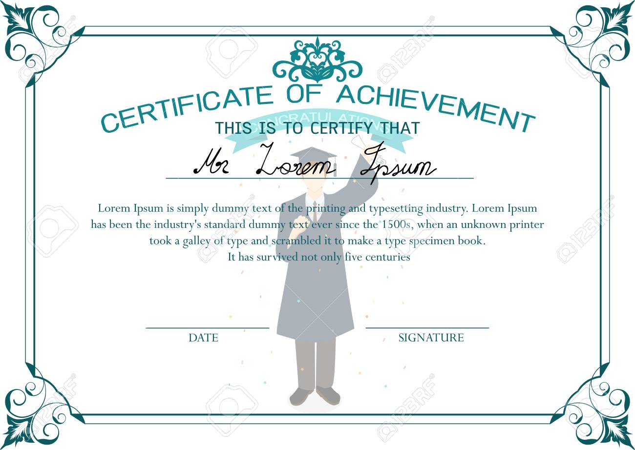 Diseño De La Plantilla De Certificado. Certificado De Logro ...
