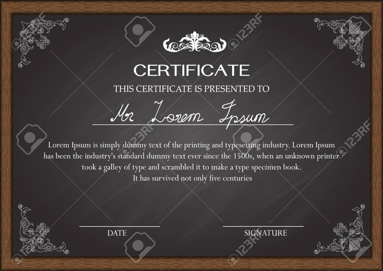 Certificado De Plantilla De Diseño En La Pizarra Ilustraciones ...