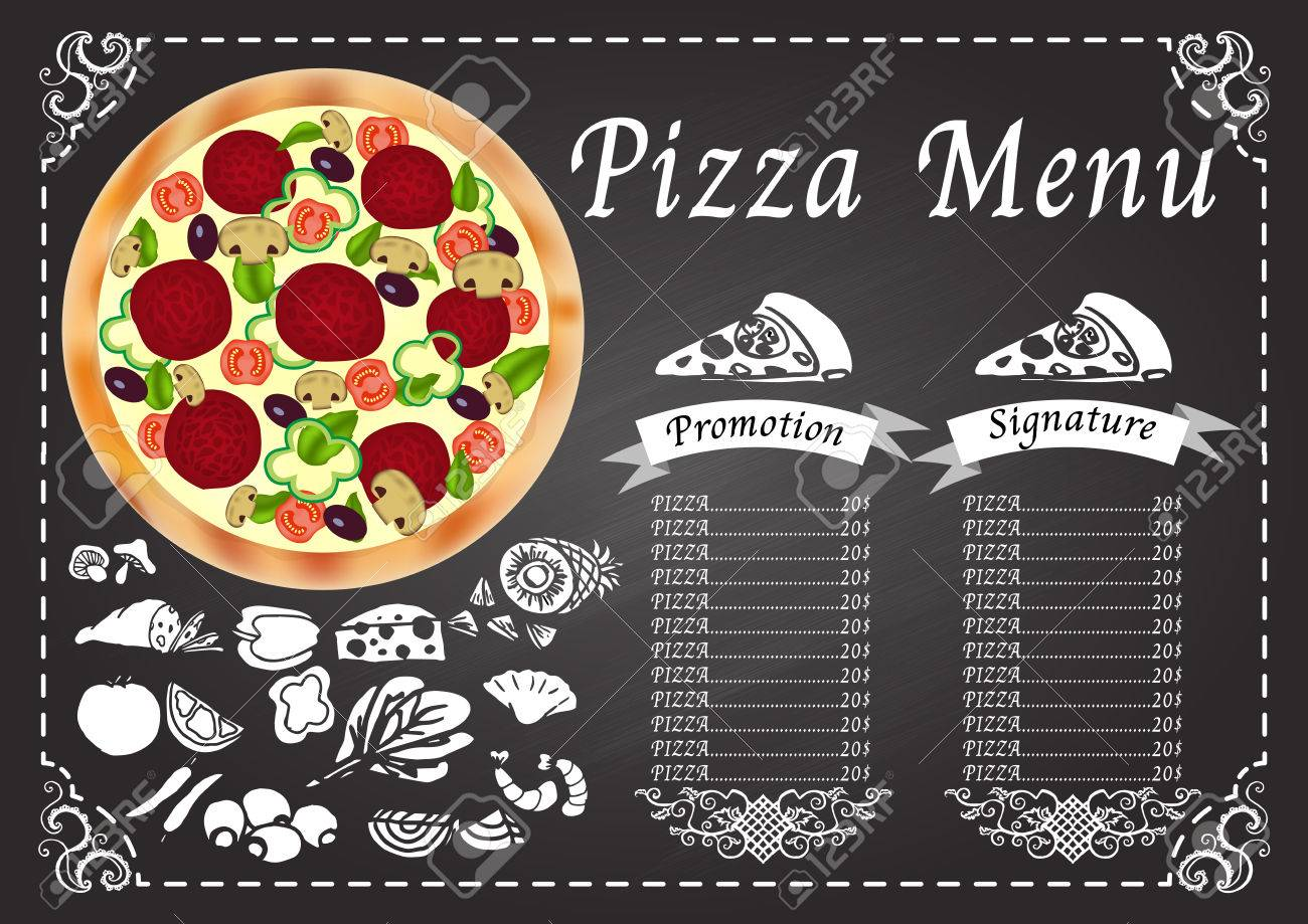 pizza menu on chalkboard design template royalty free cliparts