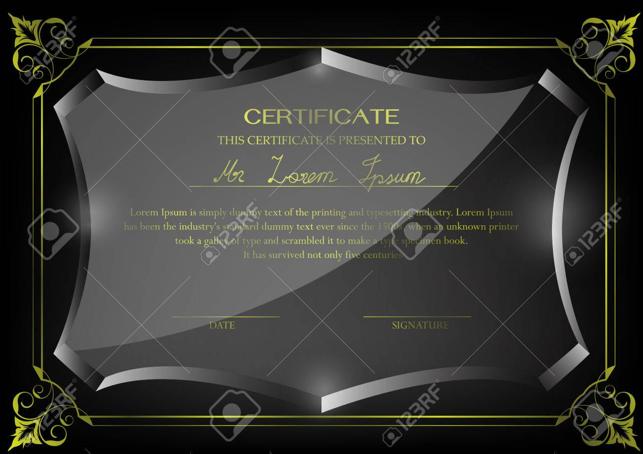 Certificate On Glass Trophy Design Template Black And White Or Grey Stock Vector