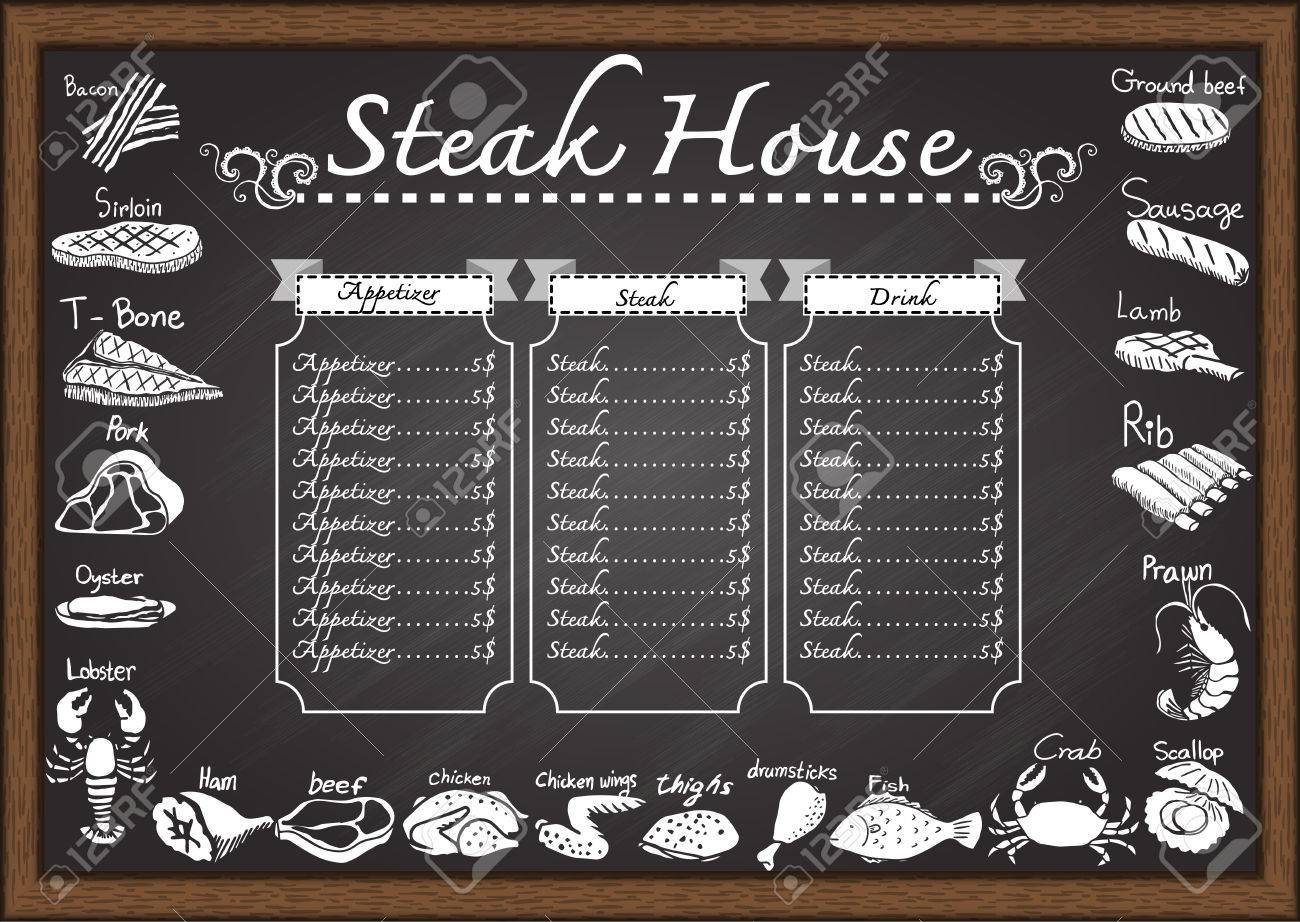 steak house menu on chalkboard design template royalty free