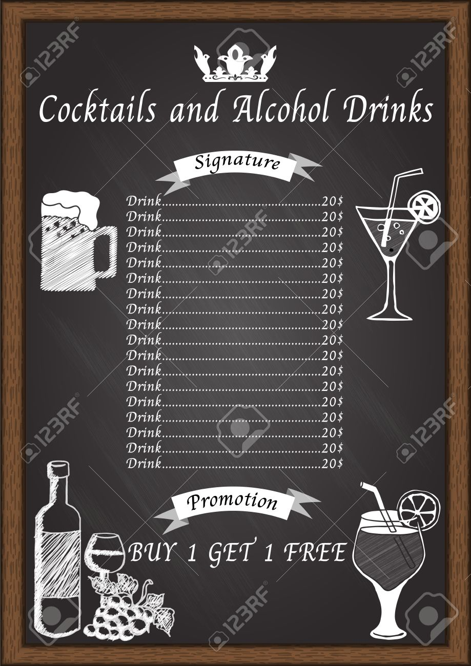 cocktail menu on chalkboard design template royalty free cliparts