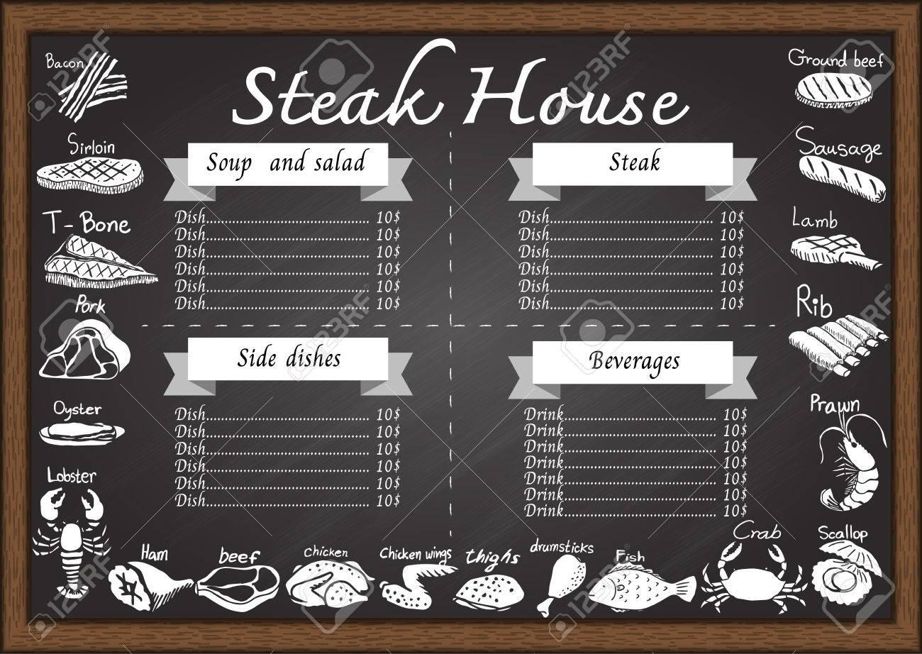 Meat Or Steak Menu On Chalkboard Design Template Consist Of BaconbeefT Bone