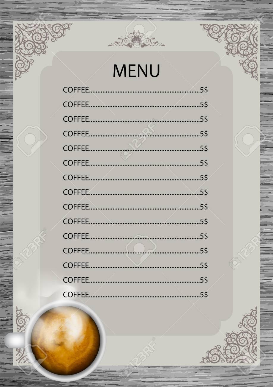 Kaffee-Menü-Design-Vorlage. Lizenzfrei Nutzbare Vektorgrafiken, Clip ...