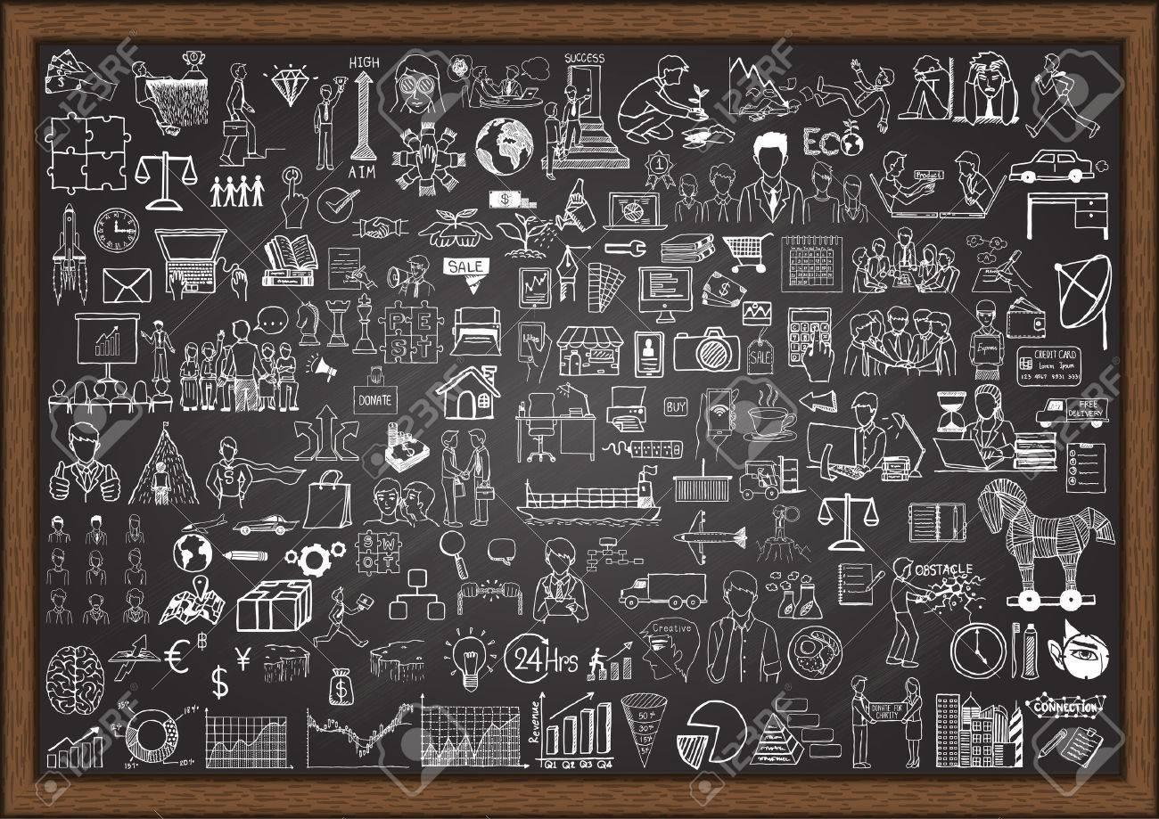 Big set of business situation doodles on chalkboard. - 43470012