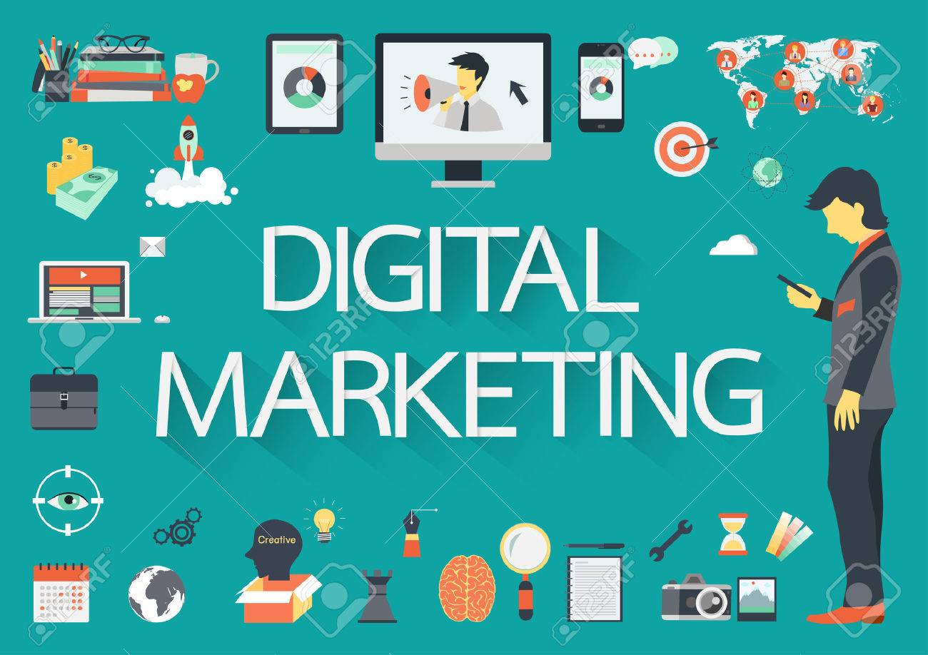 digital marketing vector concept with flat icons illustration royalty free cliparts vectors and stock illustration image 43470016 digital marketing vector concept with flat icons illustration