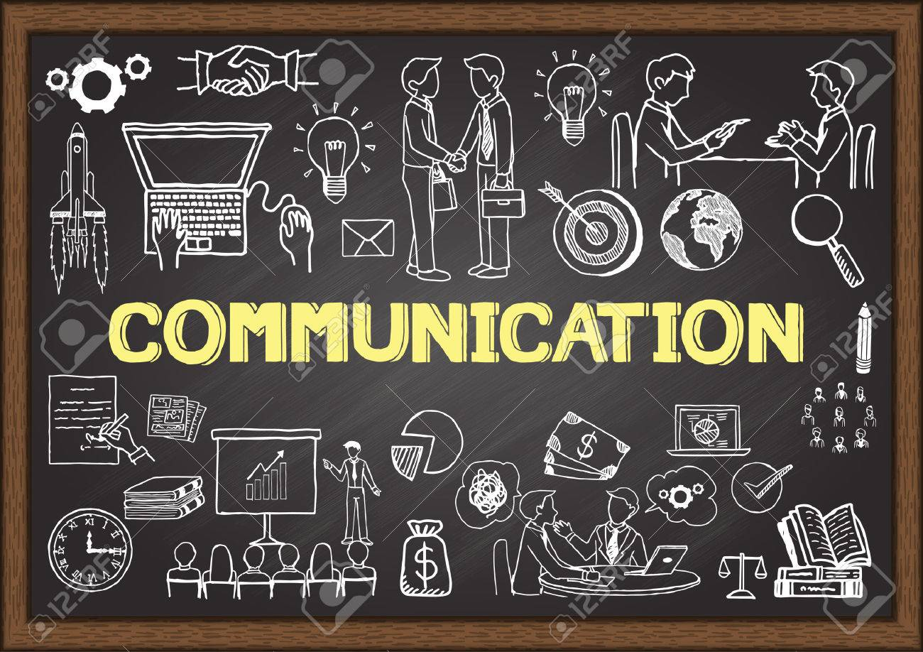 Business doodles about communication on chalkboard. - 43470082