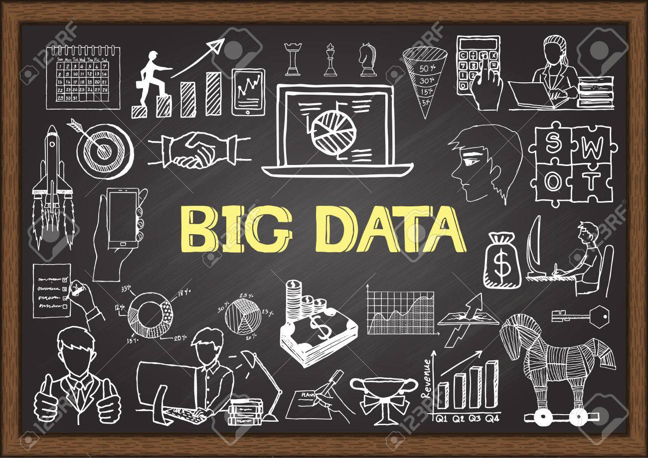 business doodles about big data on chalkboard royalty free  - business doodles about big data on chalkboard stock vector