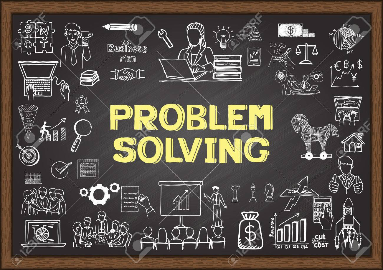 Business doodles about problem solving on chalkboard. - 43470235