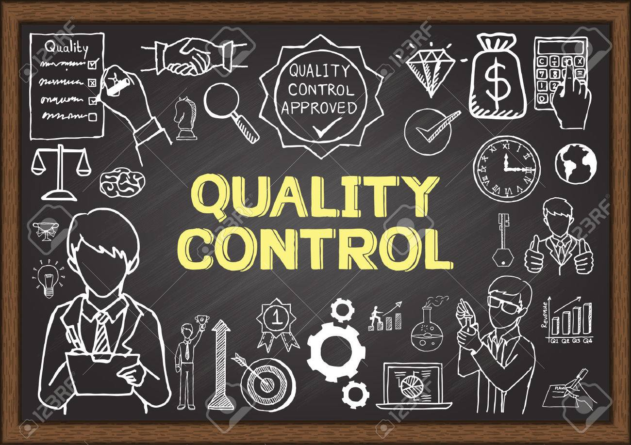 Doodles about Quality control on chalkboard. - 43470237
