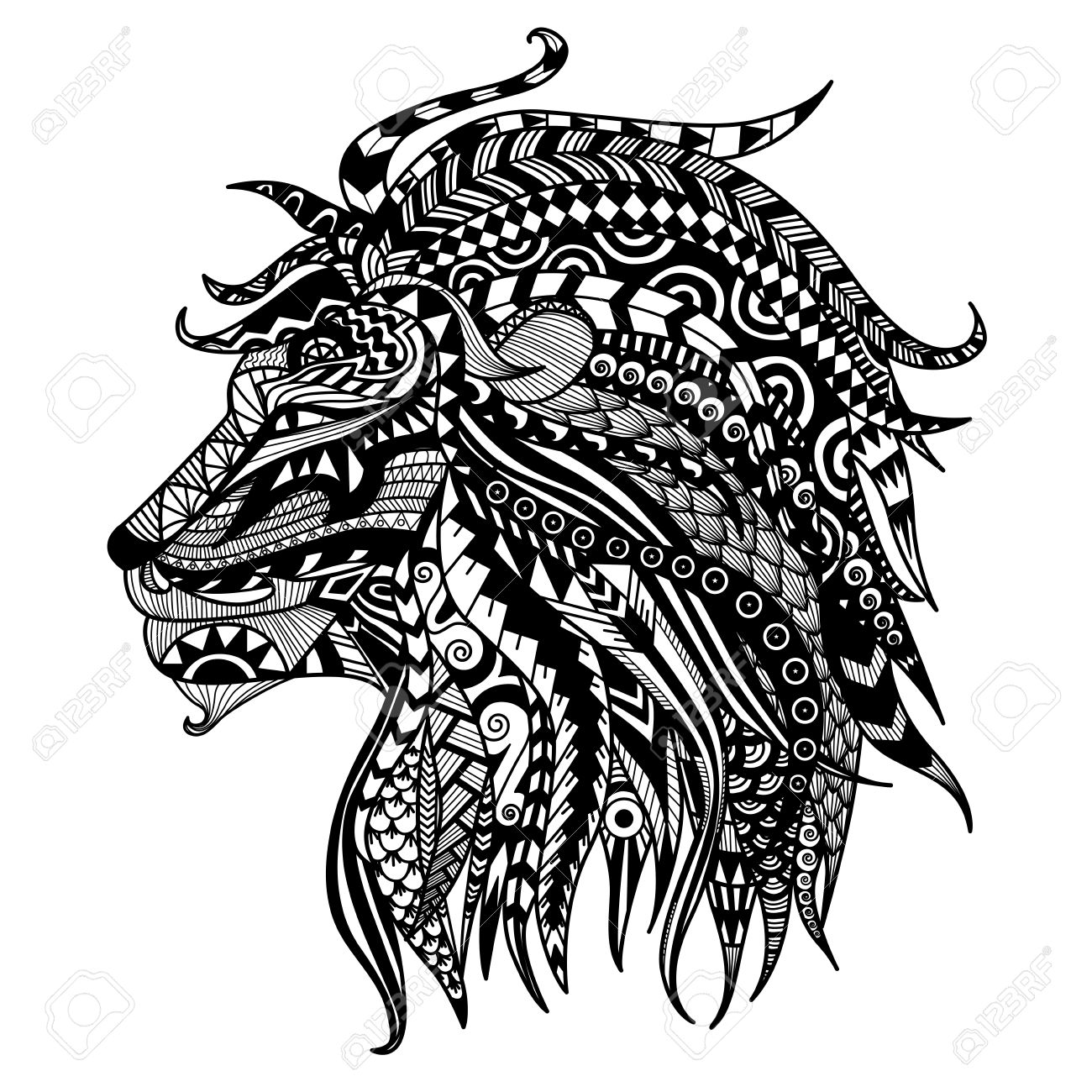 hand drawn lion coloring page stock vector 44239455 - Lion Coloring Page