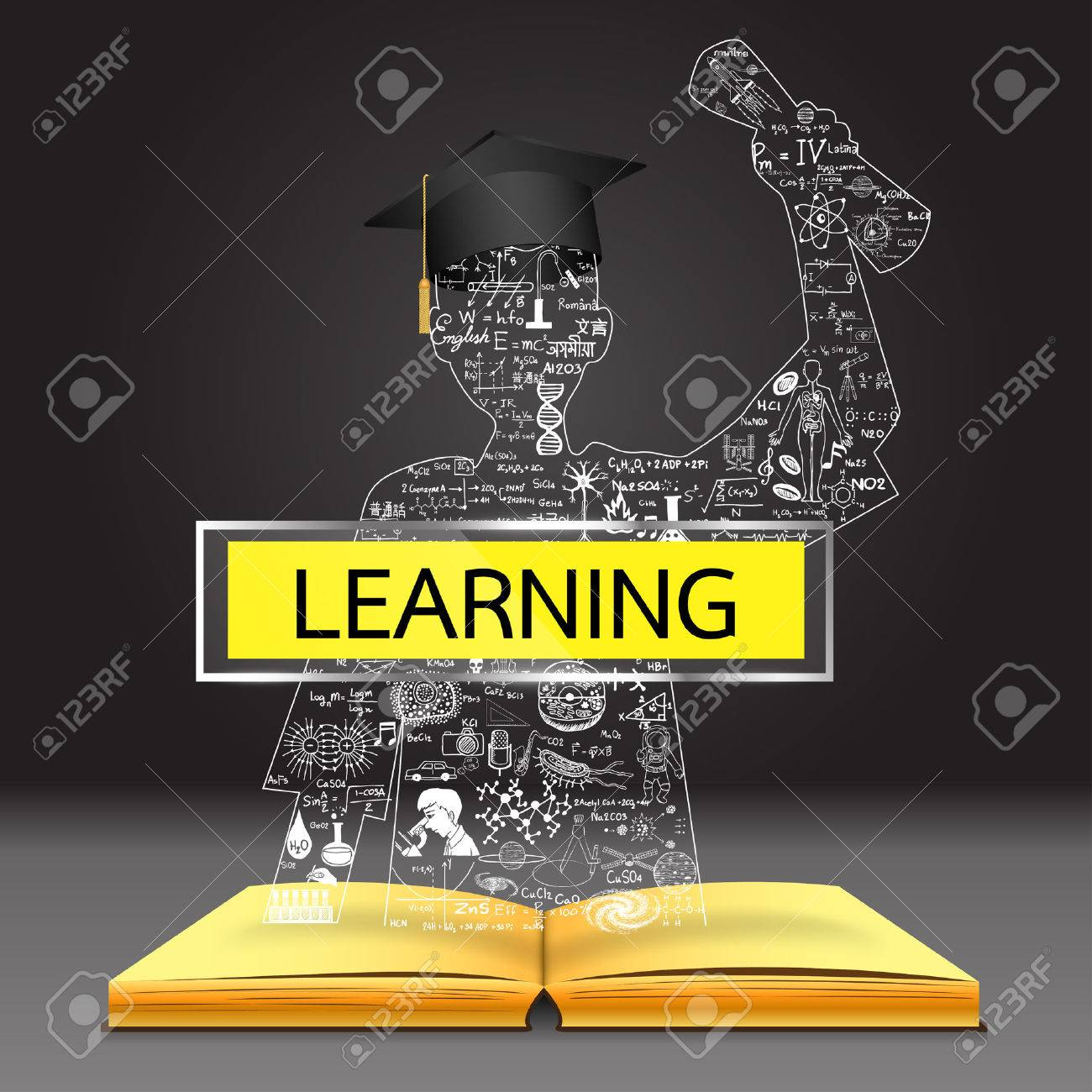 Learning concept the knowledge from the book becomes successful the knowledge from the book becomes successful graduated student education doodles including buycottarizona Images