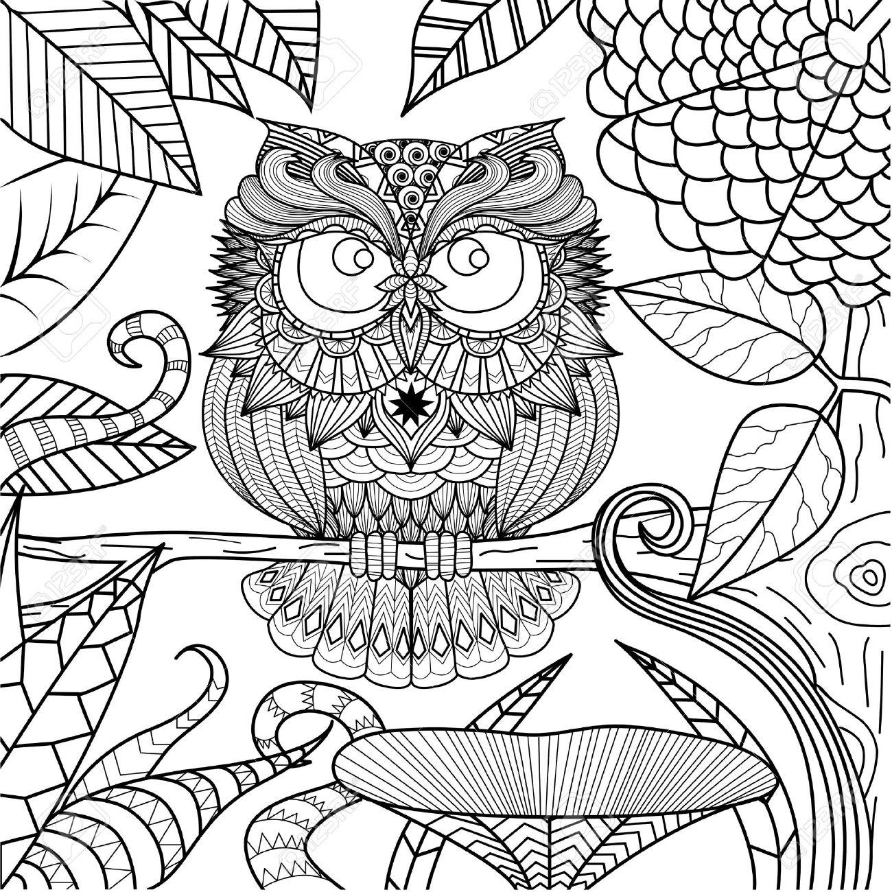 Búho Dibujo Para Colorear. Ilustraciones Vectoriales, Clip Art ...