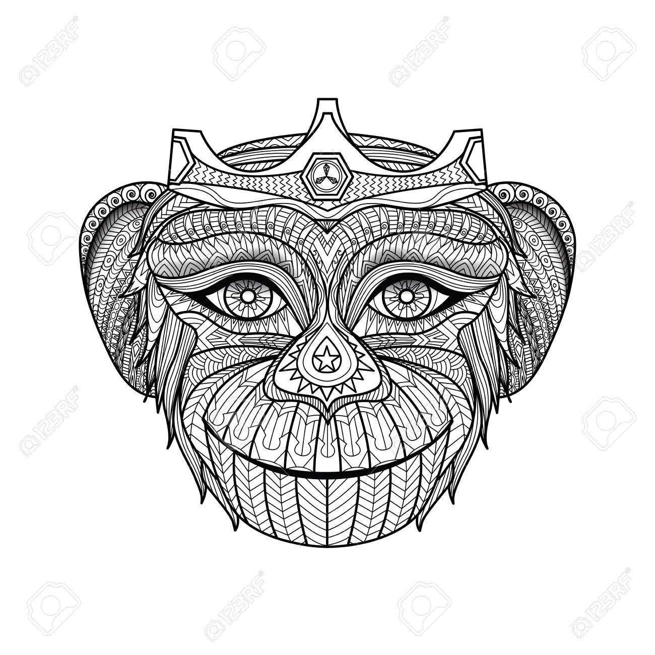 hand drawn king of monkeys coloring page image id 310684310