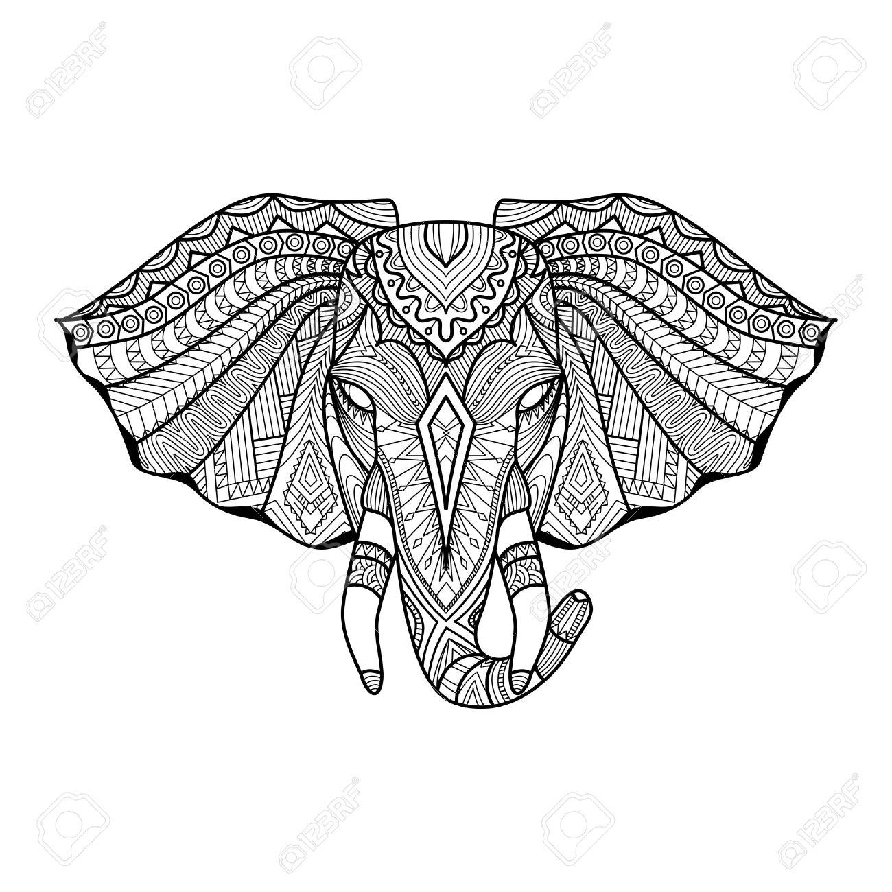 Zeichnung Einzigartigen Ethnischen Elefantenkopf Für Print, Muster ...