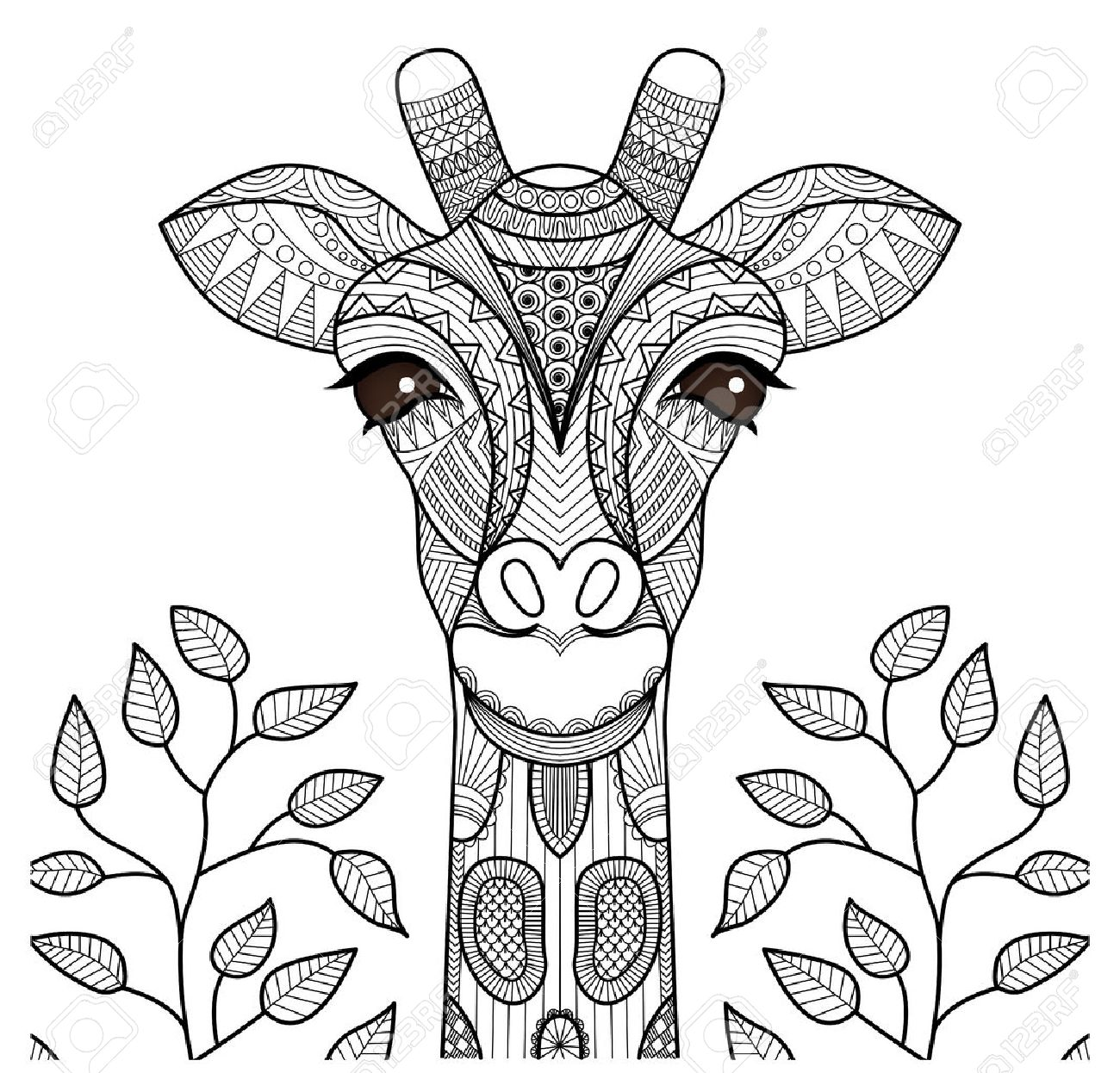 Zentangle Giraffe Head For Coloring Page, Shirt Design And So ...
