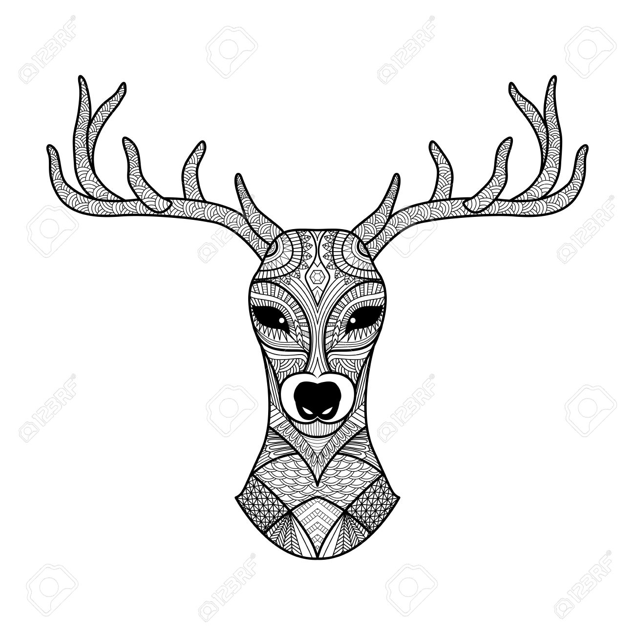 detailed zentangle deer for coloring page tattoo shirt design