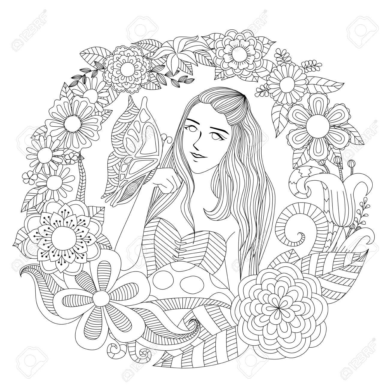Girl in the flower garden coloring page