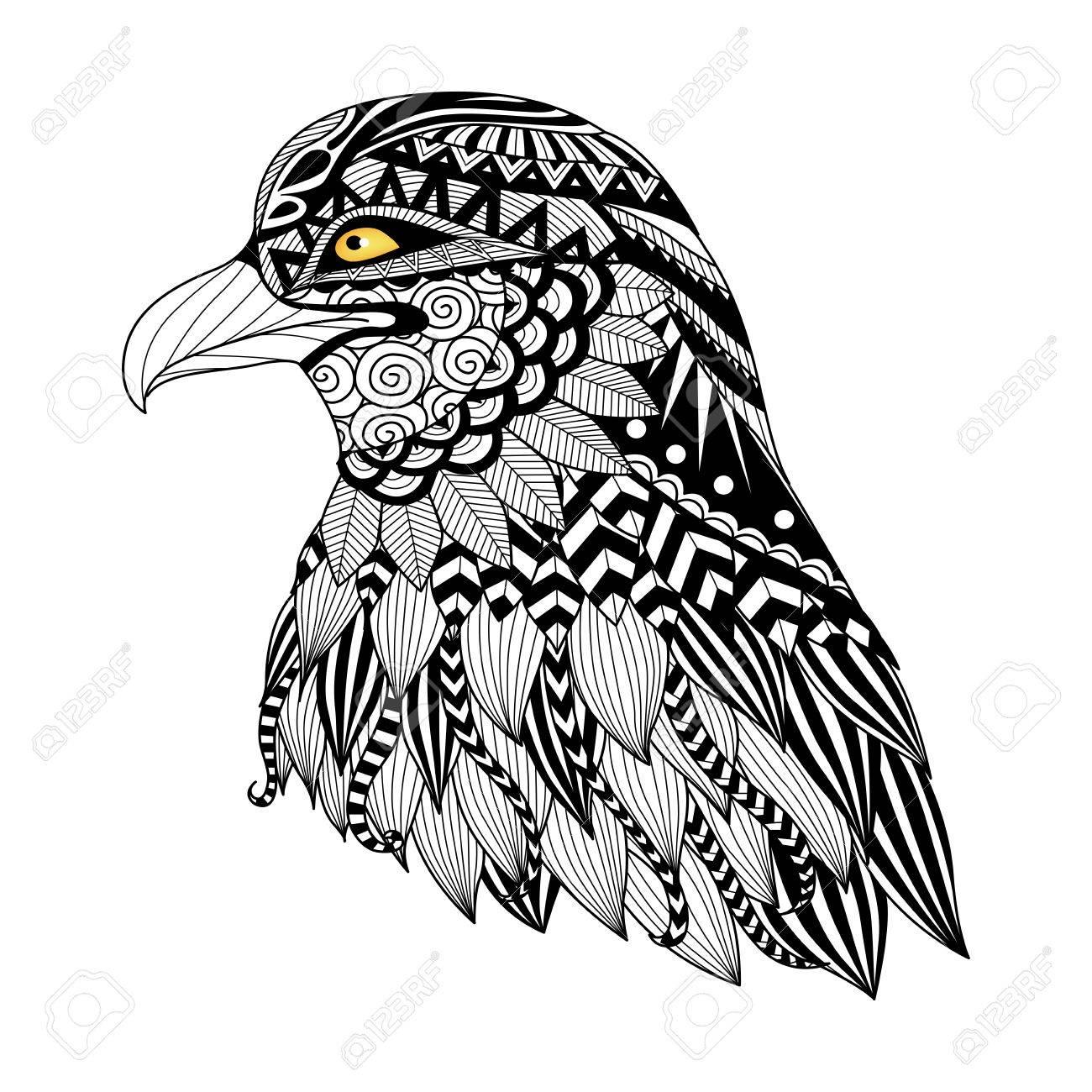 Detalle águila Para Colorear Página Tatuaje Diseño De La Camiseta Y Así Sucesivamente