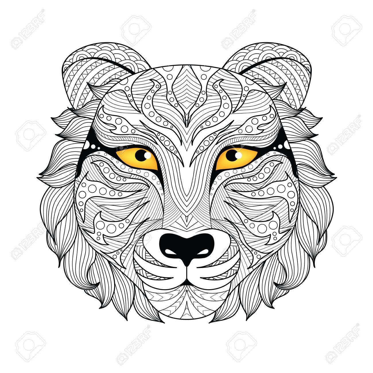 Detalle De Tigre Para Colorear Página, Tatuaje, Diseño De La ...