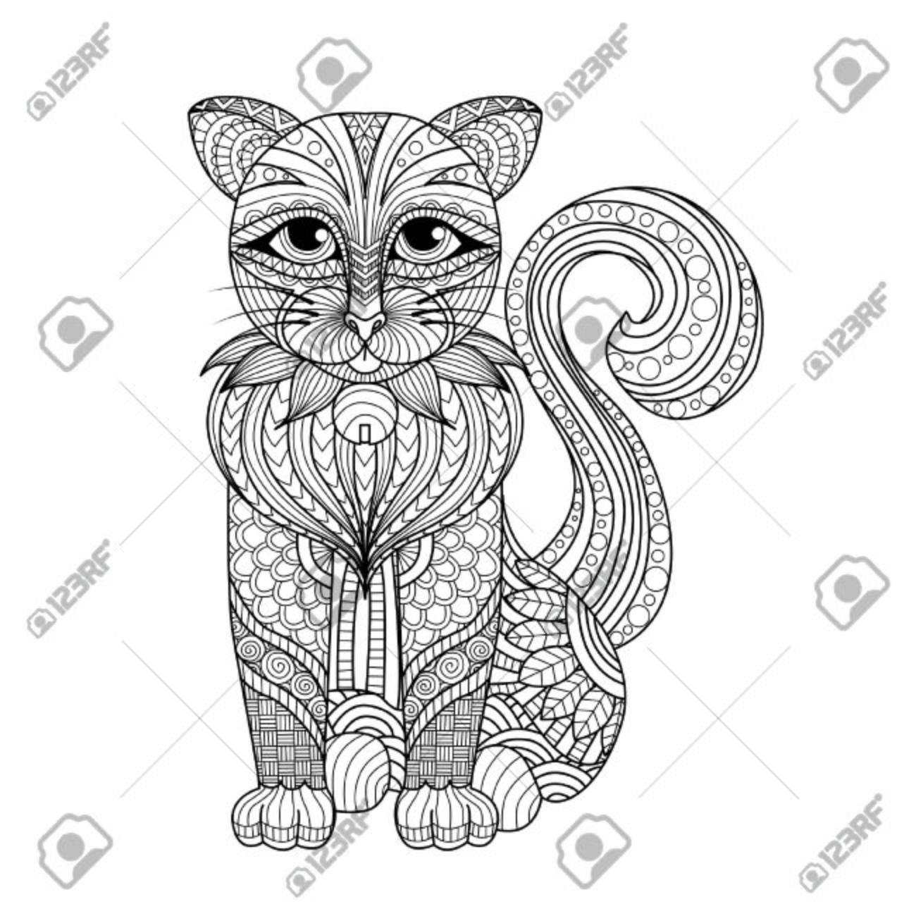 Dibujo Del Gato Para Colorear Página, Camisa Efecto De Diseño ...