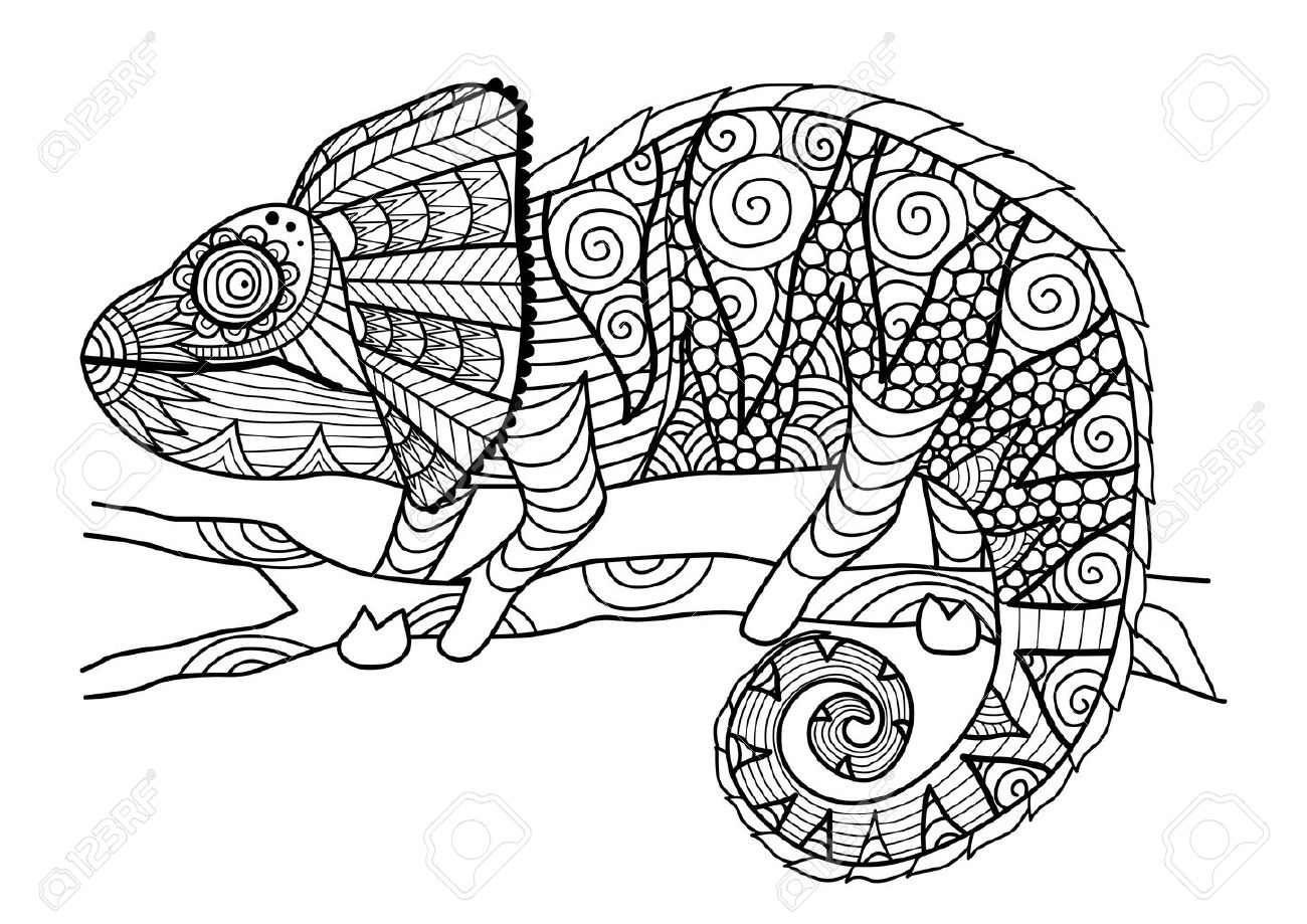 Free coloring pages chameleon - Chameleon Hand Drawn Chameleon Style For Coloring Book Shirt Design Effect Tattoo