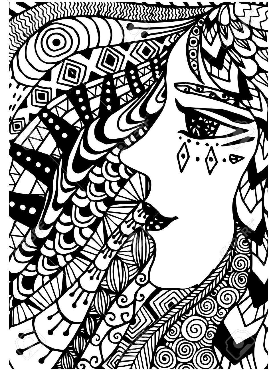 Pattern For Coloring Book Ethnicwoman Retro Doodle Tribal Design Element