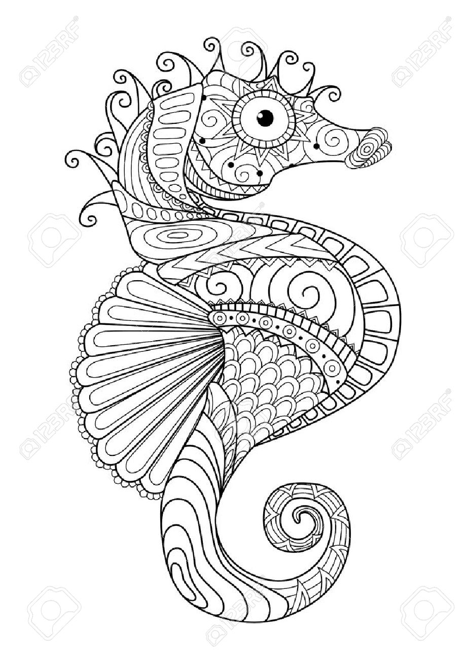 hand drawn sea horse style for coloring page t shirt design