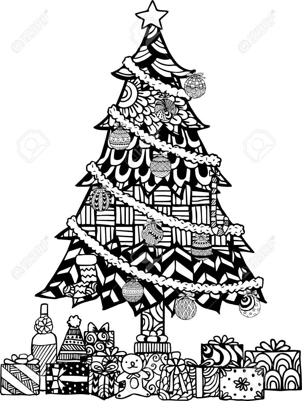 Mano De Estilo rbol De Navidad Dibujado Con Bolas De Navidad Y