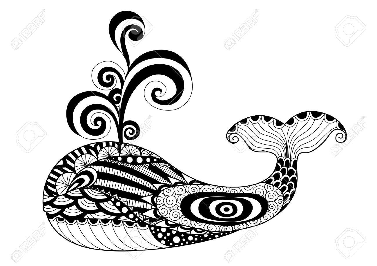 Vettoriale Stile Disegnato A Mano Della Balena Per Colorare