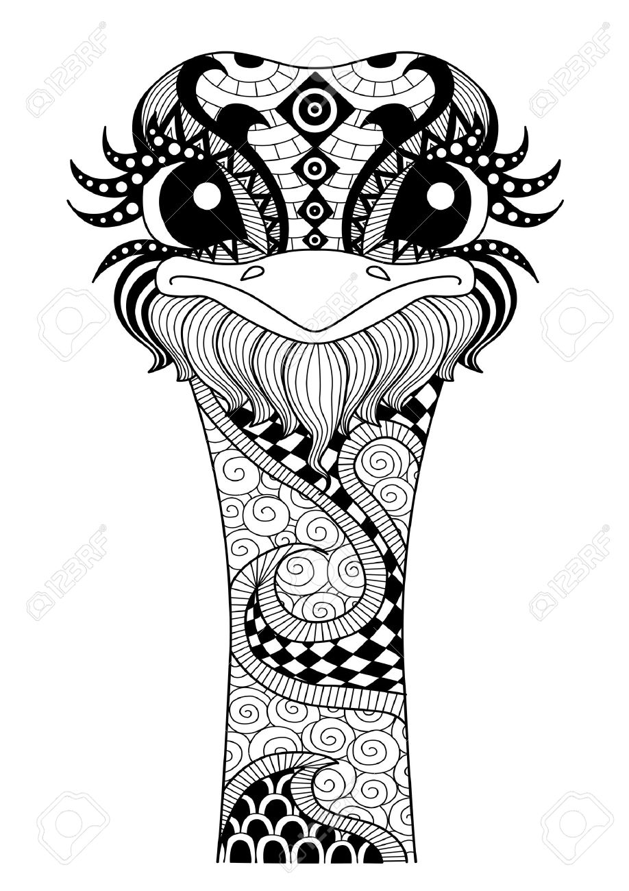 Hand Drawn Ostrich For Coloring Page T Shirt Design Effect And Tattoo Stock Vector