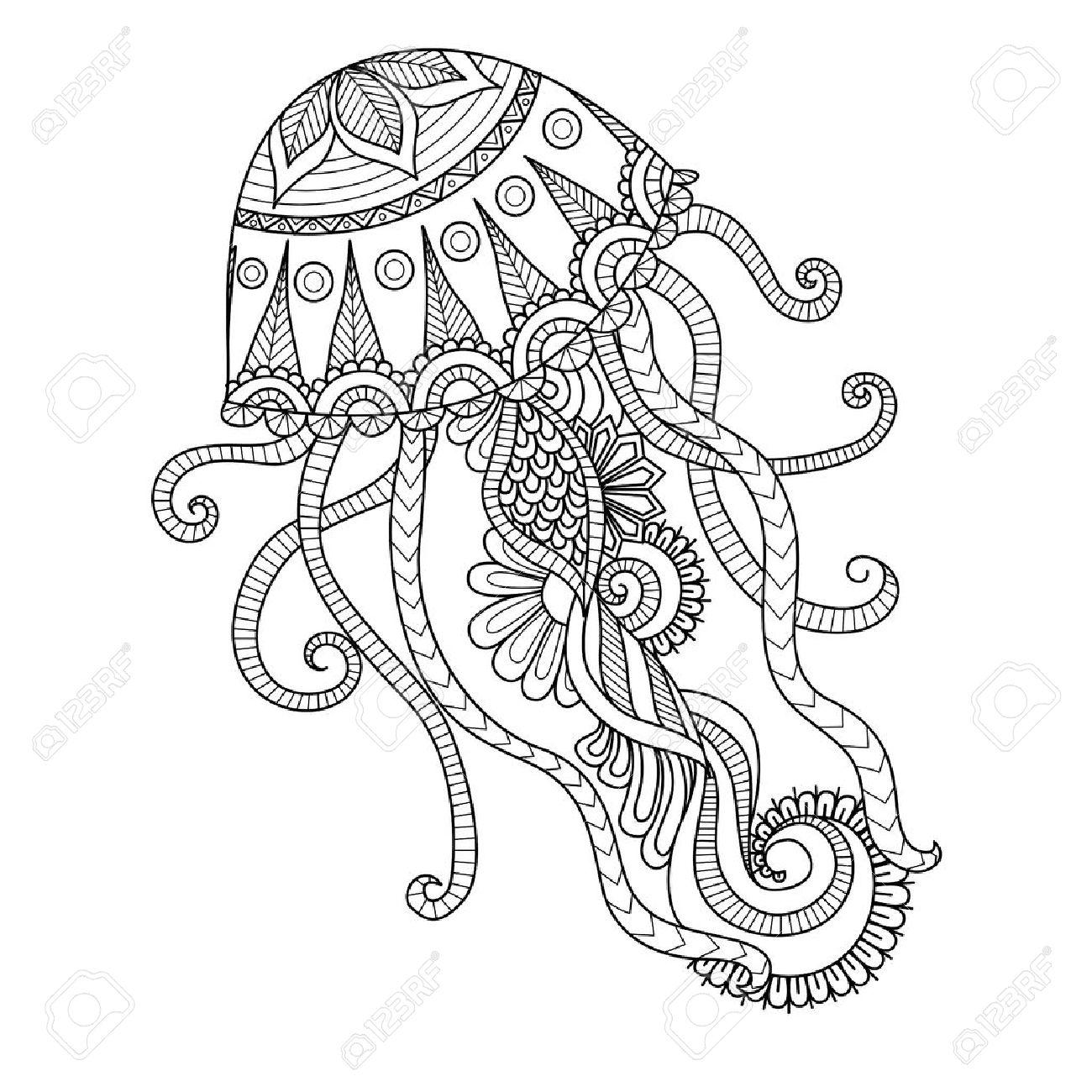Dibujado A Mano Estilo De Las Medusas De La Página Para Colorear ...