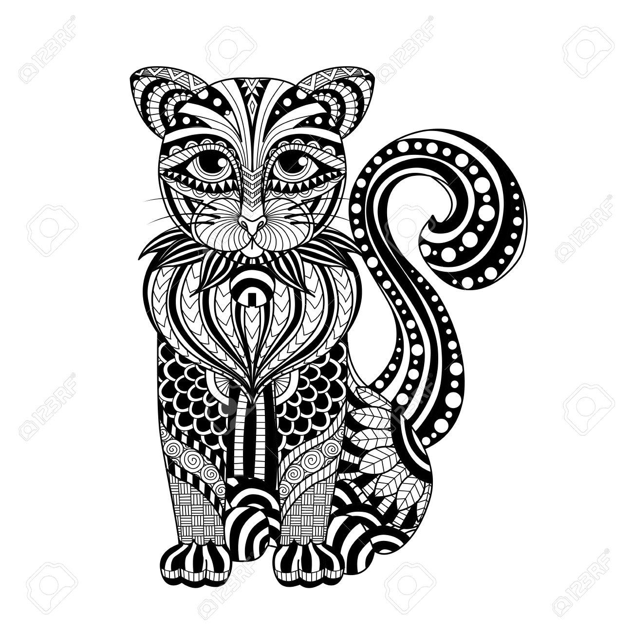 Dibujo Del Gato Para Colorear Página Camisa Efecto De Diseño