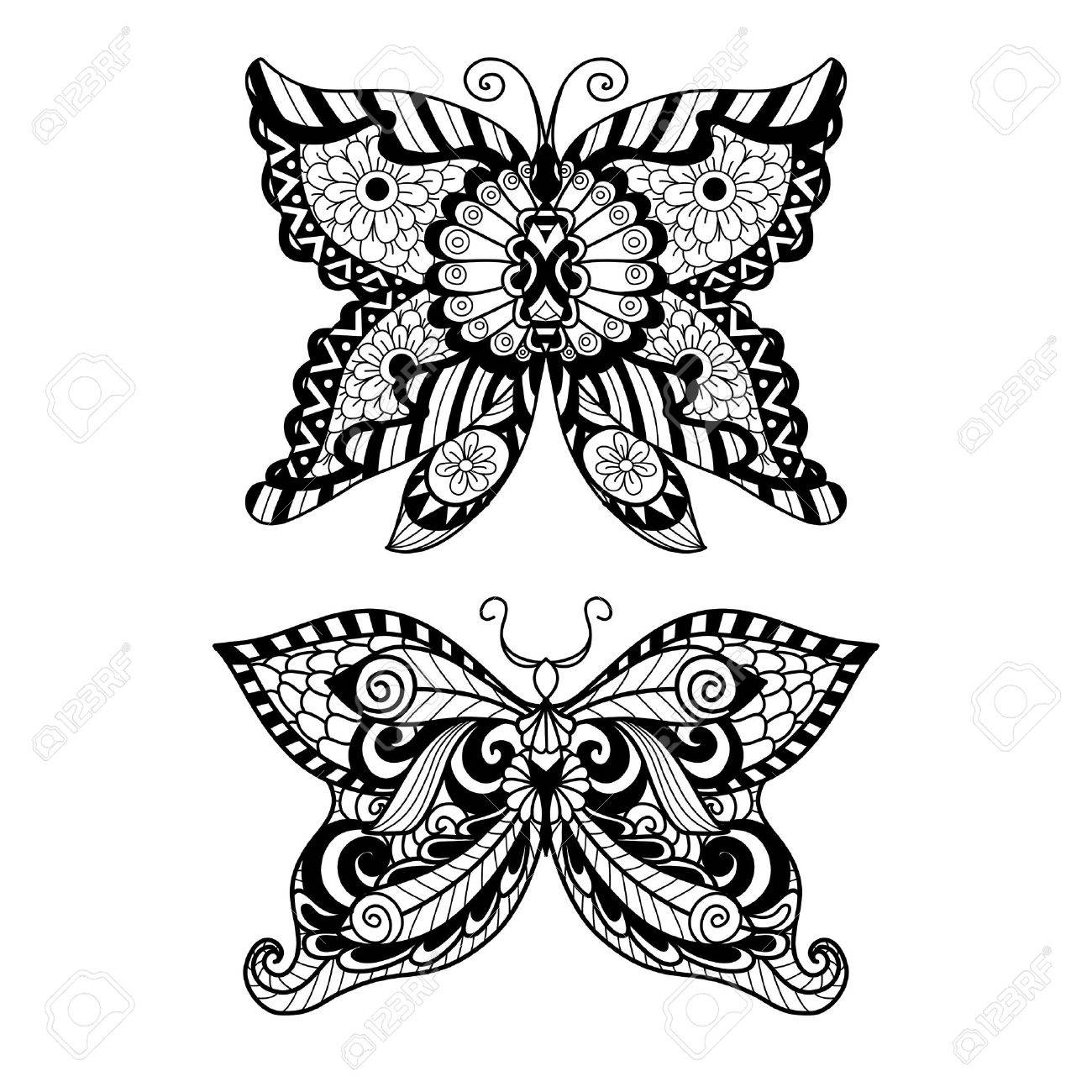 Shirt design book - Hand Drawn Butterfly Style For Coloring Book Shirt Design Or Tattoo Stock Vector 46617470