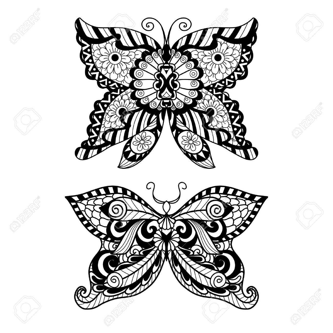 Dibujado A Mano De Estilo Mariposa Para Colorear, Diseño De La ...