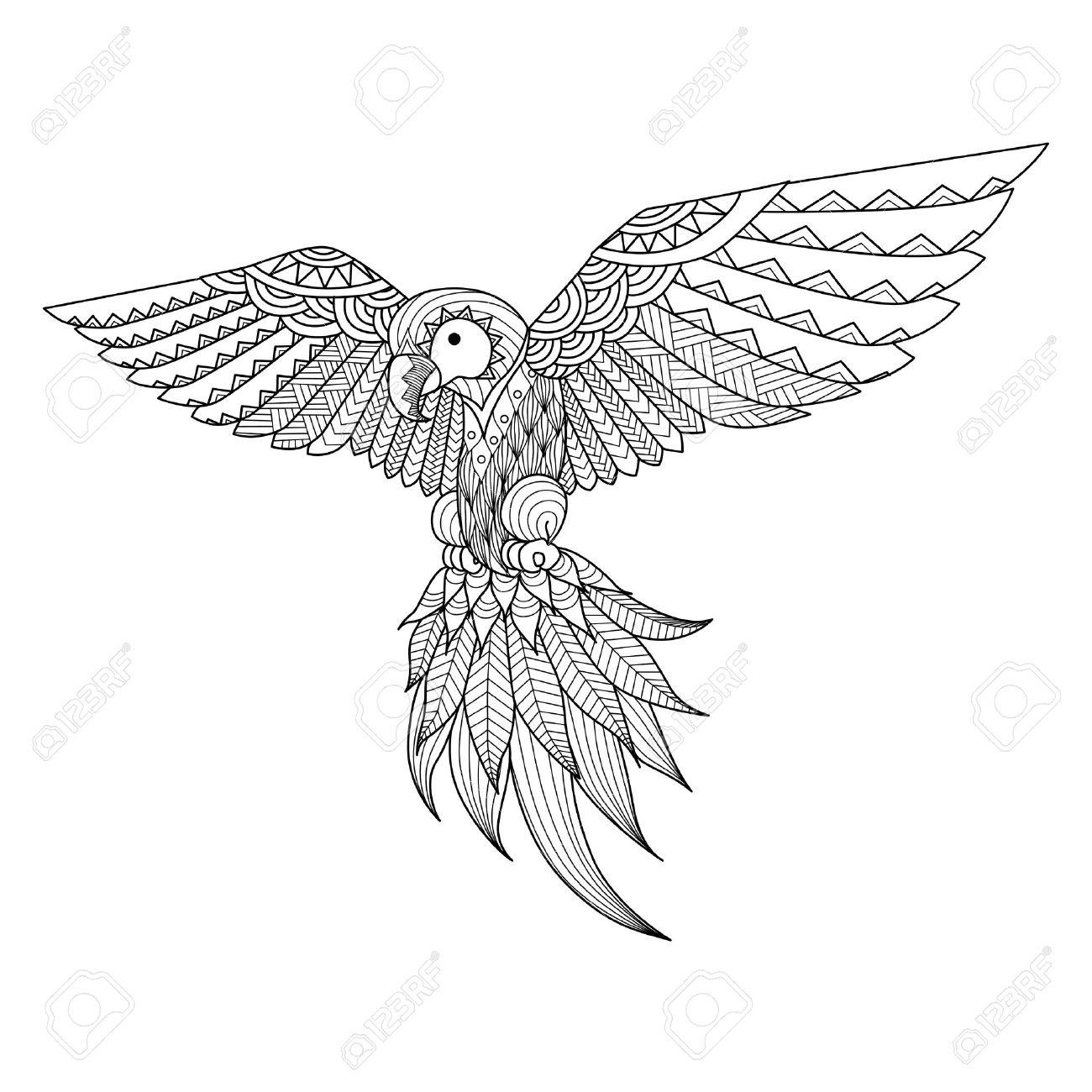 Coloriage Anti Stress Perroquet.Main Perroquet Dessinee Pour Le Livre De Coloriage Tatouage Conception De Chemise Et Ainsi De Suite