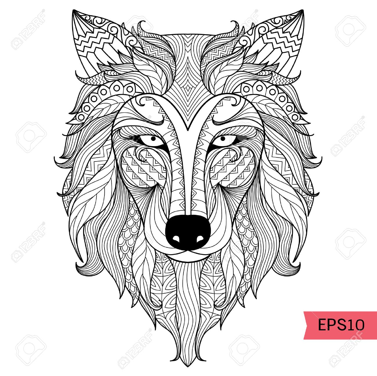Detalle Lobo Zentangle Para Colorear Página, Tatuaje, Camiseta ...