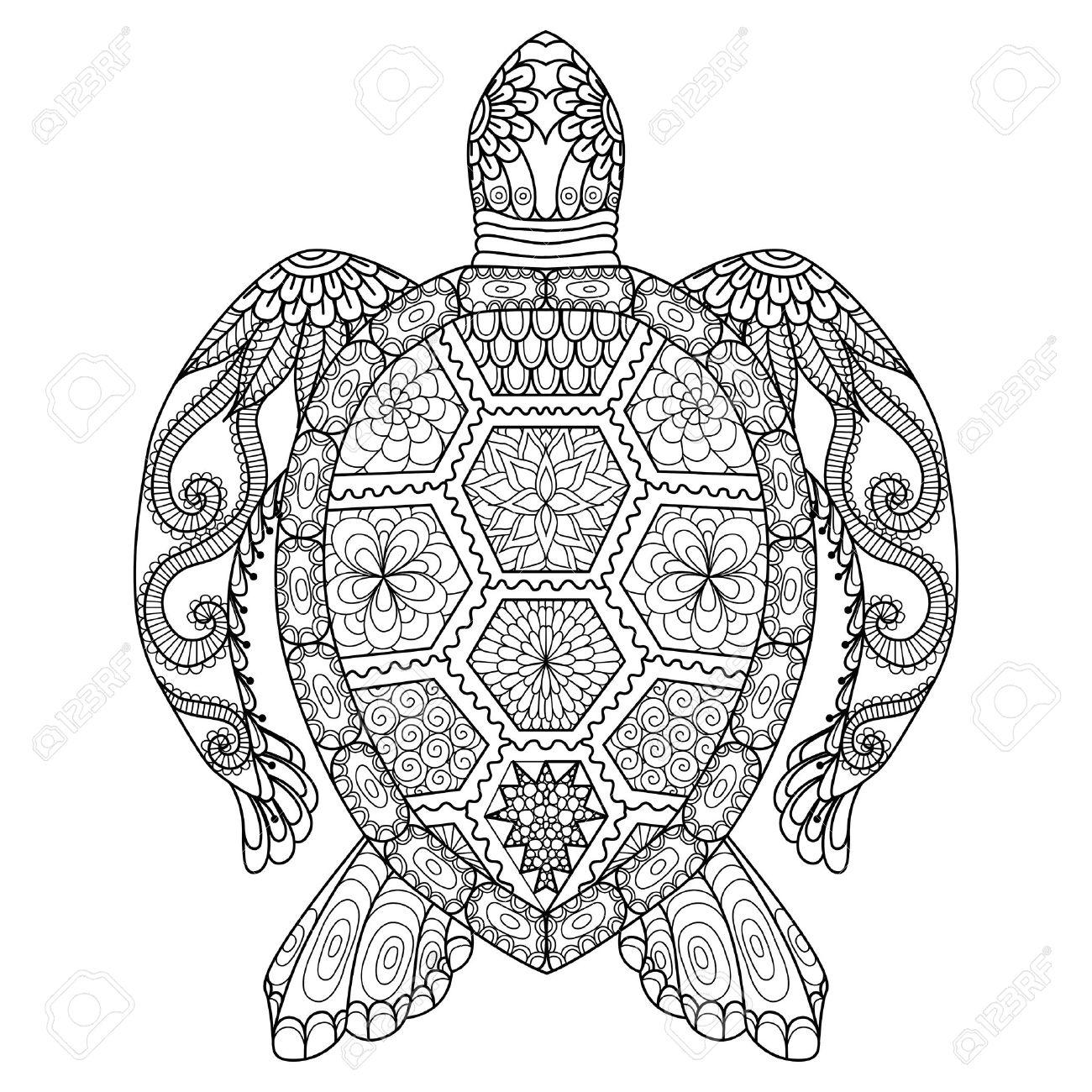 Dibujo Tortuga Zentangle De La Página Para Colorear, Camisa Efecto ...